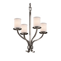 Textile LED 22 inch Brushed Nickel Chandelier Ceiling Light in 2800 Lm 4 Light LED, White