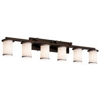 Justice Design FAB-8786-10-WHTE-DBRZ-LED6-4200 Textile LED 45 inch Dark Bronze Bath Bar Wall Light in 4200 Lm LED White Cylinder w/ Flat Rim