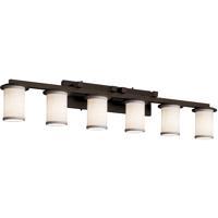 Justice Design FAB-8786-10-WHTE-DBRZ Textile 6 Light 45 inch Dark Bronze Bath Bar Wall Light in White Incandescent Cylinder w/ Flat Rim