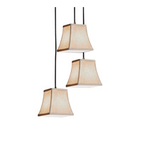 Textile LED 4 inch Dark Bronze Pendant Ceiling Light in Square Flared, 700 Lm 1 Light LED, Cream (CandleAria)
