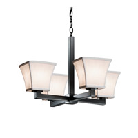 Justice Design Group Textile 4 Light Chandelier in Matte Black FAB-8829-40-WHTE-MBLK