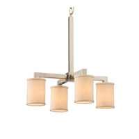 Textile LED 21 inch Brushed Nickel Chandelier Ceiling Light in Cream, 2800 Lm 4 Light LED, Cylinder with Flat Rim