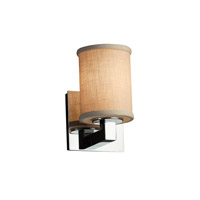 Textile LED 5 inch Polished Chrome Wall Sconce Wall Light in Cylinder with Flat Rim, 700 Lm 1 Light LED, Cream (CandleAria)