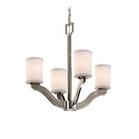 Textile 4 Light 22 inch Brushed Nickel Chandelier Ceiling Light in White, Fluorescent, Cylinder with Flat Rim