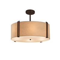 Justice Design Group Textile LED Drum Pendant in Dark Bronze FAB-9511-CREM-DBRZ-LED3-3000
