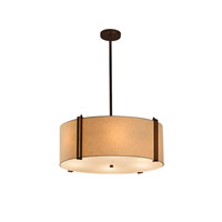 Justice Design Group Textile LED Drum Pendant in Dark Bronze FAB-9512-CREM-DBRZ-LED5-5000