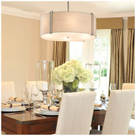 Justice Design FAB-9512-WHTE-NCKL-LED6-4200 Textile LED 25 inch Brushed Nickel Pendant Ceiling Light in 4200 Lm LED White