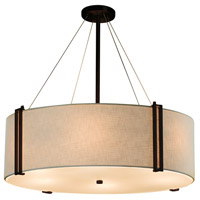 Justice Design FAB-9514-CREM-DBRZ-LED8-5600 Textile LED 37 inch Drum Pendant Ceiling Light in Dark Bronze, Cream, 5600 Lm LED