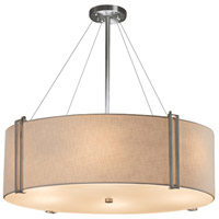 Justice Design FAB-9514-CREM-NCKL-LED8-5600 Textile LED 37 inch Drum Pendant Ceiling Light in Brushed Nickel Cream 5600 Lm LED