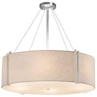 Justice Design FAB-9514-WHTE-CROM-LED8-5600 Textile LED 37 inch Drum Pendant Ceiling Light in Polished Chrome White 5600 Lm LED