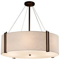 Justice Design FAB-9514-WHTE-DBRZ Textile 8 Light 37 inch Drum Pendant Ceiling Light in Dark Bronze White Incandescent