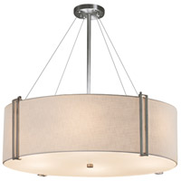 Justice Design FAB-9514-WHTE-NCKL Textile 8 Light 37 inch Drum Pendant Ceiling Light in Brushed Nickel White Incandescent