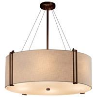 Justice Design FAB-9517-CREM-DBRZ Textile 8 Light 49 inch Drum Pendant Ceiling Light in Dark Bronze Cream Incandescent