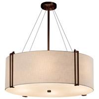 Justice Design FAB-9517-WHTE-DBRZ-LED8-5600 Textile LED 49 inch Drum Pendant Ceiling Light in Dark Bronze White 5600 Lm LED