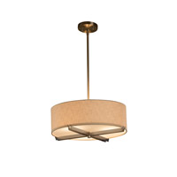 Textile LED Brushed Nickel Drum Pendant Ceiling Light in 2100 Lm 3 Light LED, Cream (CandleAria)