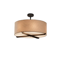 Textile Dark Bronze Drum Pendant Ceiling Light in Cream, Fluorescent