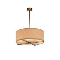 Textile 6 Light 21 inch Brushed Nickel Drum Pendant Ceiling Light in Cream, Fluorescent