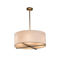 Textile 6 Light 21 inch Brushed Nickel Drum Pendant Ceiling Light in White, Fluorescent