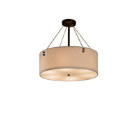 Justice Design FAB-9531-CREM-CROM-F3-LED4-2800 Textile LED 18 inch Polished Chrome Pendant Ceiling Light in 2800 Lm LED, Pair of Square with Points, Cream