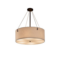 Textile LED Dark Bronze Drum Pendant Ceiling Light in Pair of Squares, 3500 Lm 5 Light LED, Cream (CandleAria)