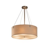 Textile 6 Light 21 inch Brushed Nickel Drum Pendant Ceiling Light in Cream, Fluorescent, Pair of Cylinders