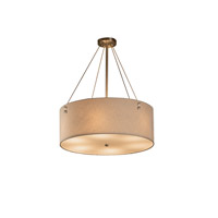 Textile 6 Light 21 inch Brushed Nickel Drum Pendant Ceiling Light in Cream, Fluorescent, Pair of Square with Points