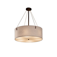 Textile Dark Bronze Drum Pendant Ceiling Light in White, Fluorescent, Pair of Squares
