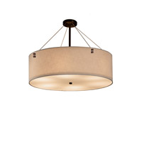 Textile Dark Bronze Drum Pendant Ceiling Light in Cream, Fluorescent, Pair of Squares