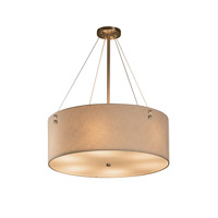 Textile 8 Light 21 inch Brushed Nickel Drum Pendant Ceiling Light in Cream, Fluorescent, Pair of Square with Points
