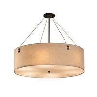 Justice Design FAB-9537-CREM-DBRZ-F3 Textile 8 Light 48 inch Drum Pendant Ceiling Light in Pair of Square with Points Dark Bronze Cream