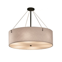 Justice Design FAB-9537-WHTE-DBRZ-F1 Textile 8 Light 48 inch Drum Pendant Ceiling Light in Pair of Cylinders Dark Bronze White Incandescent
