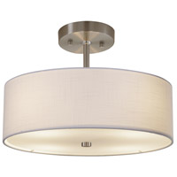Justice Design FAB-9590-WHTE-NCKL EVOLV 14 inch Brushed Nickel Pendant Ceiling Light in White Incandescent Classic Family