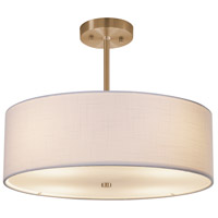 Justice Design FAB-9591-WHTE-BRSS Textile 3 Light 18 inch Brushed Brass Pendant Ceiling Light, Drum