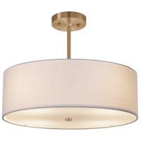 Justice Design FAB-9591-WHTE-BRSS Textile 3 Light 18 inch Brushed Brass Pendant Ceiling Light Drum