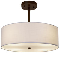 Justice Design FAB-9591-WHTE-DBRZ EVOLV 18 inch Dark Bronze Pendant Ceiling Light in White Incandescent Classic Family