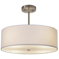 Justice Design FAB-9591-WHTE-NCKL Textile 18 inch Brushed Nickel Pendant Ceiling Light Classic Family