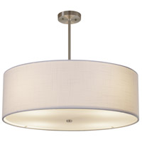 Justice Design FAB-9592-WHTE-NCKL Textile 24 inch Brushed Nickel Pendant Ceiling Light Classic Family