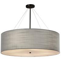 Justice Design FAB-9594-GRAY-MBLK Textile 8 Light 36 inch Matte Black Pendant Ceiling Light Drum