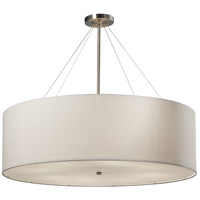 Justice Design FAB-9594-WHTE-NCKL Textile 36 inch Brushed Nickel Pendant Ceiling Light Classic Family