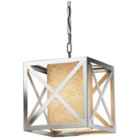 Justice Design FAB-9700-CREM-CROM Textile 1 Light 12 inch Drum Pendant Ceiling Light Cube