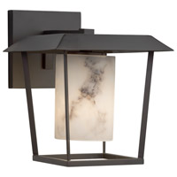 Justice Design FAL-7551W-10-MBLK-LED1-700 Lumenaria LED 9 inch Outdoor Wall Sconce in 700 Lm LED Matte Black Cylinder with Flat Rim
