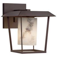 Justice Design FAL-7554W-10-DBRZ-LED1-700 Lumenaria LED 12 inch Outdoor Wall Sconce in 700 Lm LED Dark Bronze Cylinder with Flat Rim