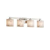 LumenAria 4 Light 34 inch Brushed Nickel Vanity Light Wall Light in Oval, Fluorescent