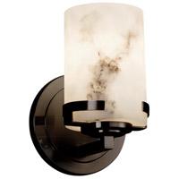 Justice Design FAL-8451-12-MBLK LumenAria 1 Light 5 inch Wall Sconce Wall Light in Matte Black, Cylinder with Broken Rim, Incandescent