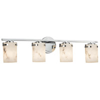 LumenAria 4 Light 32 inch Vanity Light Wall Light in Polished Chrome, LED, Cylinder with Flat Rim