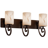 LumenAria 3 Light 25 inch Dark Bronze Bath Bar Wall Light in Incandescent, Cylinder with Flat Rim