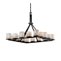 LumenAria 16 Light 42 inch Matte Black Chandelier Ceiling Light in Square with Flat Rim
