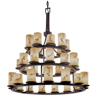 LumenAria 36 Light Dark Bronze Chandelier Ceiling Light in Cylinder with Flat Rim