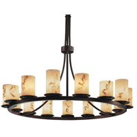 LumenAria 15 Light Dark Bronze Chandelier Ceiling Light in Cylinder with Flat Rim