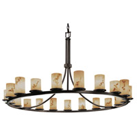 LumenAria 21 Light Dark Bronze Chandelier Ceiling Light in Cylinder with Flat Rim